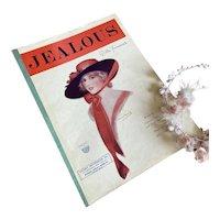 Bella Bordello Antique Vintage 1920s Sheet Music JEALOUS Cover to Frame Gibson Girl Hat Portrait