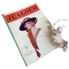 Bella Bordello Antique Vintage 1920s Sheet Music JEALOUS Cover to Frame Gibson Girl Hat Portrait