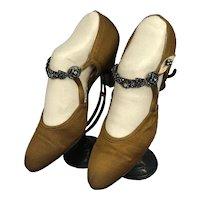 Bella Bordello Antique Vintage Flapper Shoes Helen Larson Collection Bronze Rhinestone Strap Heels Paris