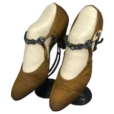 Bella Bordello Antique Vintage Flapper Shoes Helen Larson Collection Bronze Rhinestone Strap Heels Paris
