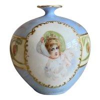 Bella Bordello Antique Victorian Hand Painted Vase Pastel Blue Woman In Bonnet Austria