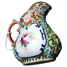 Richly Decorated Jug in Raised Applications and HP  Florals - Red Tag Sale Item