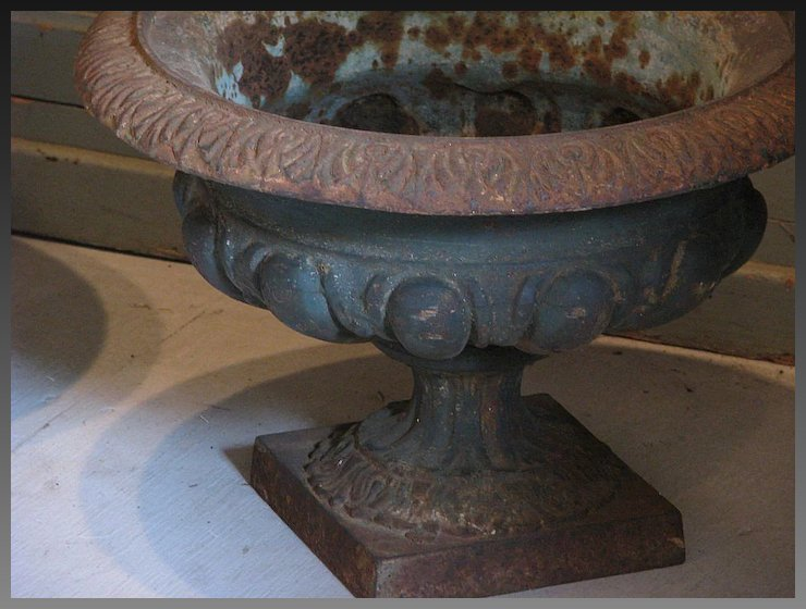 Superb 19th Century French Cast Iron Classical Garden Urns (Pair)