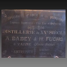 Antique French Liquor & Wine Warehouse Advertising Sign