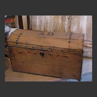 French Antique Dome Document Box w/ Brass Tacks