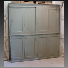 Antique Country French Gray Painted Cabinet