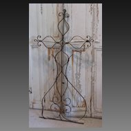 French Country Antique Scrolly Iron Cross