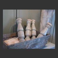 Vintage French Gray Oak Balustrades set of Four