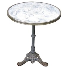 Vintage French Iron Base Gueridon Bistro Table