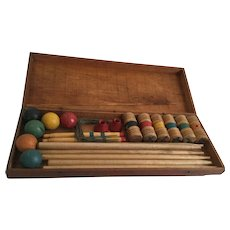 Vintage Little Folks Croquet No. 1000 For Lawn or Parlor in Original Wood Box