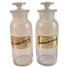 Vintage Glass Apothecary Jars pair PLUMBI ACET & AMMON CHLOR