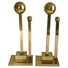 Mid - Century Modern Deco Brass Andirons Sculpture
