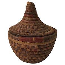 Vintage African Coil Basket Lidded Jar Container