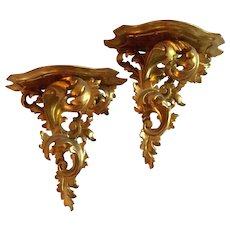 Pair Vintage Carved Gilt Wood Italian French Baroque Shelf Brackets Gold Leaf