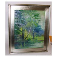 Impressionist Landscape Signed M Montgomery Oil on Canvas