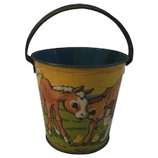 "Vintage Tin Litho Sand Pail T. Conn Inc. 4 1/4"""