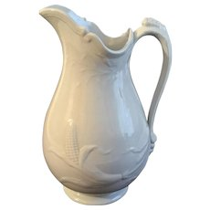 Vintage Wedgwood Large Ironstone Water Pitcher Corn Pattern