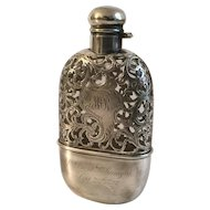 Antique Sterling Silver Overlay Flask with Cup