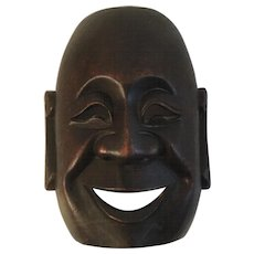 Vintage Carved Wood Buddha Mask