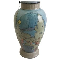 """Rosenthal Hand Painted Table Lamp 19"""" in the style of Peter Max very dream like"""