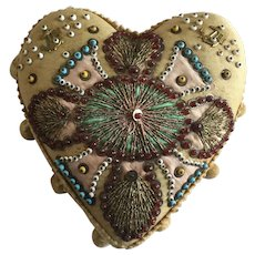 Antique Native American Heart Beaded Pin Cushion Whimsey