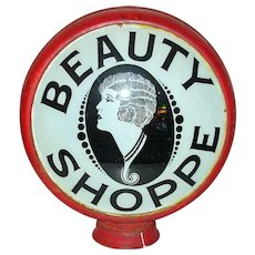 Vintage Beauty Shoppe 2 Sided Glass Sign in Metal Round Frame 1920-30's