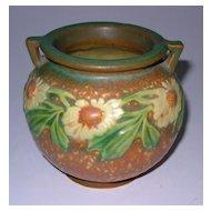 "Roseville Dahlrose Small Jardiniere Vase 2 Handle 4 1/4"""