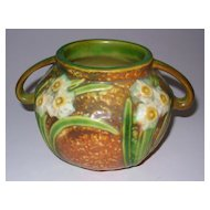"Roseville Jonquil 2 Handle Bowl 4 1/2"" tall"