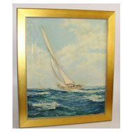 Vintage Oil Painting on Canvas Sailing of Newport RI