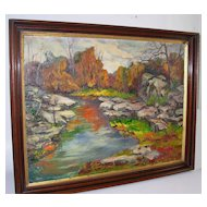 Impressionist River Landscape Oil on Canvas Signed Grace Jorgensen