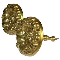 Vintage Antique Cast Brass Curtain Drapery Tie Backs Window Treatments Rare Great Pair