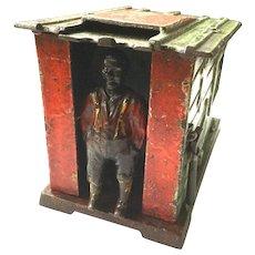 "Original J. E. Stevens ""Cabin"" Cast Iron Mechanical Bank 1885"