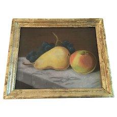 Antique Small Pastel Still Life of Fruit in Original Lemon Gold Frame
