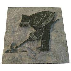 """Raffael Rotondo Sculpture Peche Ave La Plume 7x7"""" Carved Stone Inuit Art"""