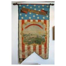 Hand Painted Patriotic Americana Banner Kansas