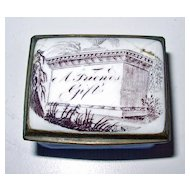 18th Century Bilston Battersea Enameled Patch Box with Inscription A FRIENDS GIFT