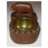 Vintage Hand Carved Wood Bear on Smokers Dish