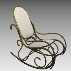 Brass Tubular Rocking Chair Thonet Style Curved c1900