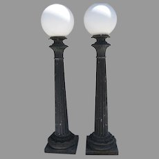 Pair of Cast Iron Post Porch Columns Building Lights by Union Metal Co. Ohio Architectural AR.184