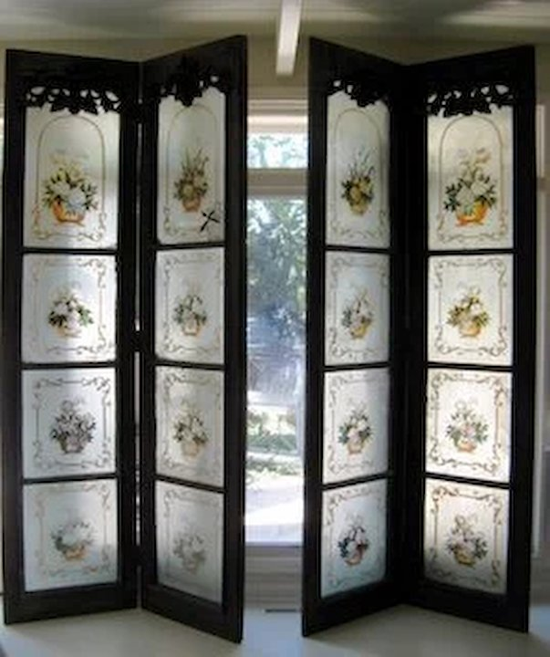 Set of Four Colonial Eglomise Doors Now as a Screen & Set of Four Colonial Eglomise Doors Now as a Screen : Black Tulip ...