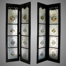 Set of Four Colonial Eglomise Doors Now as a Screen