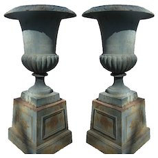 19th Century French Classical Urns on Plinth Cast Iron Pair
