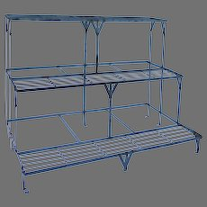 Vintage Stepped Painted Blue Iron Plant Stand