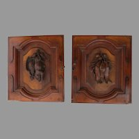 Wonderful Pair Two Cabinet Doors Carved Black Forest Walnut Re-Purpose Architectural Fish Boar Bird Plaques (C)