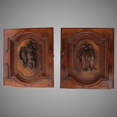 Wonderful Pair Two Cabinet Doors Carved Black Forest Walnut Re-Purpose Architectural Fish Boar Bird Plaques