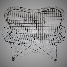 Wirework Garden Bench Shaped and Rolled Back
