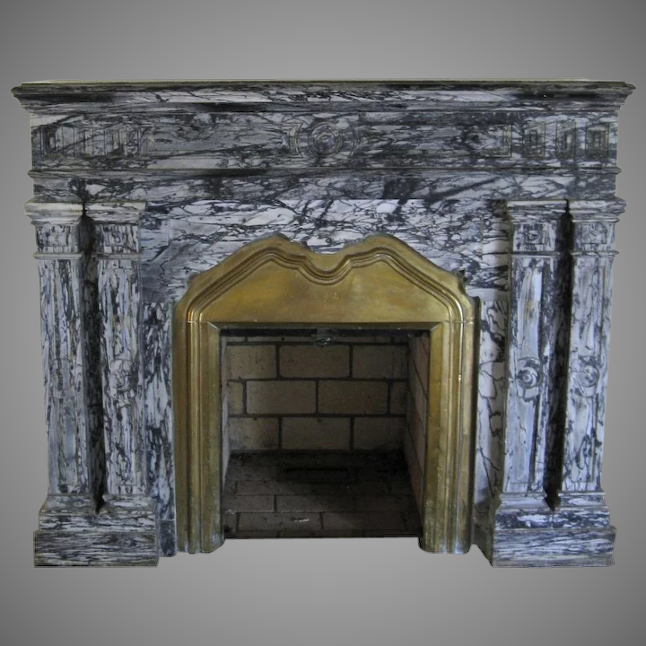 Tremendous Antique Marble Fireplace Surround Grey Black Brass Insert Mantel Download Free Architecture Designs Boapuretrmadebymaigaardcom