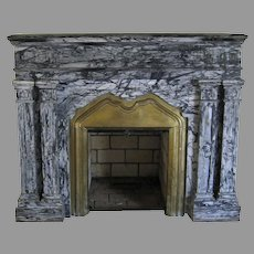 French Marble Fireplace Surround Grey Black Brass Insert Mantel