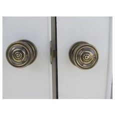 Pair of Quality Leaded Glass Door, Brass Knobs