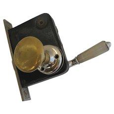 Vintage Door Lock Latch and Handles Brass Alabaster